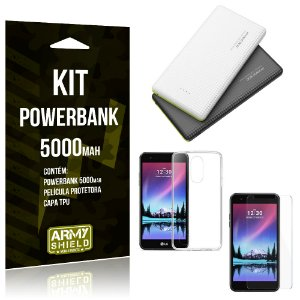 Kit Powerbank 5000 LG K8 Novo Powerbank + Película + Capa  - Armyshield