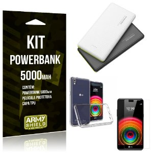 Kit Powerbank 5000 LG X Power Powerbank + Película + Capa  - Armyshield