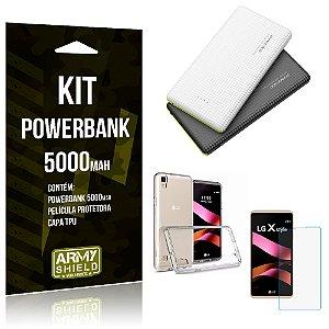 Kit Powerbank 5000 LG X Style Powerbank + Película + Capa  - Armyshield