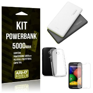 Kit Powerbank 5000 Motorola Moto E3 Powerbank + Película + Capa  - Armyshield