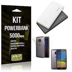Kit Powerbank 5000 Motorola Moto E4 Powerbank + Película + Capa  - Armyshield