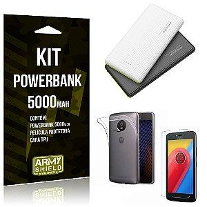 Kit Powerbank 5000 Motorola Moto C Plus Powerbank + Película + Capa  - Armyshield