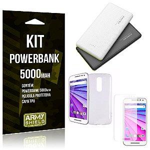 Kit Powerbank 5000 Motorola Moto G3 Powerbank + Película + Capa  - Armyshield