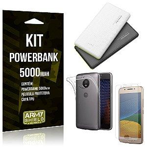 Kit Powerbank 5000 Motorola Moto G5 Powerbank + Película + Capa  - Armyshield