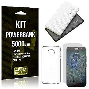 Kit Powerbank 5000 Motorola Moto G5S Plus Powerbank + Película + Capa  - Armyshield