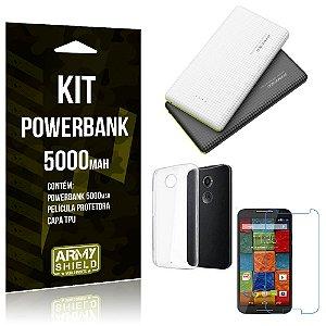 Kit Powerbank 5000 Motorola Moto X 2 Powerbank + Película + Capa  - Armyshield