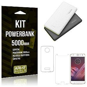 Kit Powerbank 5000 Motorola Moto Z2 Play Powerbank + Película + Capa  - Armyshield