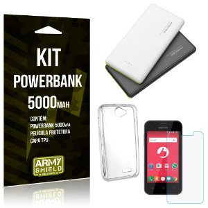 Kit Powerbank 5000 Positivo One S420 Powerbank + Película + Capa  - Armyshield