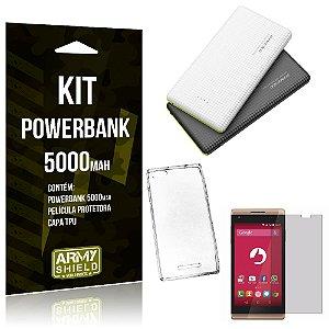 Kit Powerbank 5000 Positivo Selfie S455 Powerbank + Película + Capa  - Armyshield