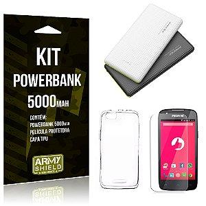 Kit Powerbank 5000 Positivo S480 Powerbank + Película + Capa  - Armyshield