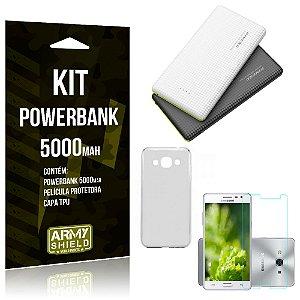 Kit Powerbank 5000 Samsung Galaxy J3 Pro Powerbank + Película + Capa  - Armyshield