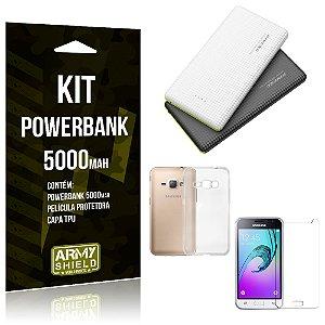 Kit Powerbank 5000 Samsung Galaxy J1 (2016) Powerbank + Película + Capa  - Armyshield