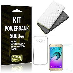 Kit Powerbank 5000 Samsung Galaxy J2 (2016) Powerbank + Película + Capa  - Armyshield