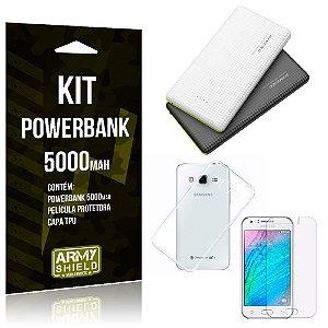 Kit Powerbank 5000 Samsung Galaxy J3 (2015) Powerbank + Película + Capa  - Armyshield