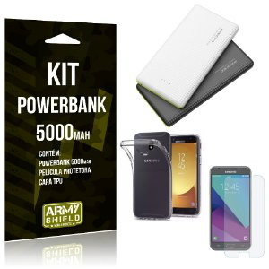 Kit Powerbank 5000 Samsung Galaxy J5 Pro (2017) Powerbank + Película + Capa  - Armyshield