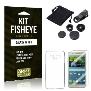 Kit Fisheye Samsung J7 Neo Película de Vidro + Capa Tpu e Lente Olho de Peixe - Armyshield