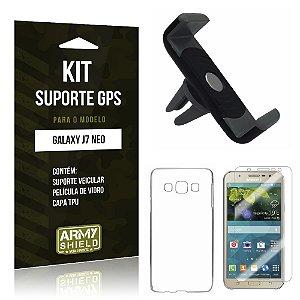 Kit Suporte Veicular Samsung Galaxy J7 Neo Película de Vidro + Tpu + Suporte Veicular  - Armyshield