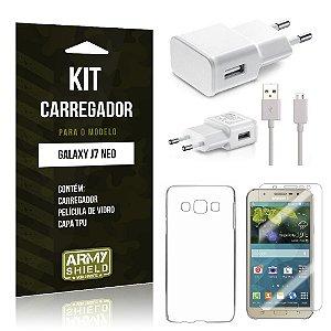 Kit Carregador Samsung Galaxy J7 Neo Película de Vidro + Tpu + Carregador  - Armyshield