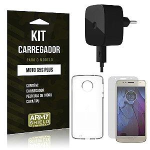 Kit Carregador Motorola Moto G5S Plus Película de Vidro + Tpu + Carregador - Armyshield