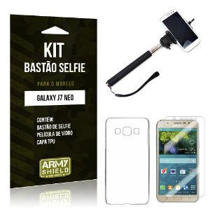 Kit Bastão Selfie Samsung Galaxy J7 Neo Película de Vidro + Tpu + Bastão Selfie  - Armyshield