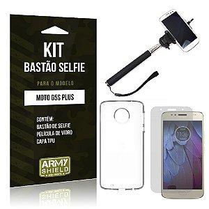 Kit Bastão Selfie Motorola Moto G5S Plus Película de Vidro + Tpu + Bastão Selfie - Armyshield