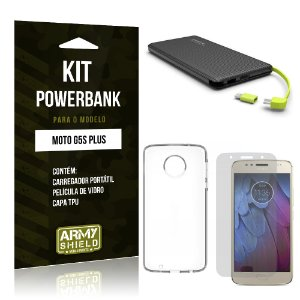 Kit Powerbank Motorola Moto G5S Plus Película de Vidro + Tpu + Powerbank 10000mah- Armyshield