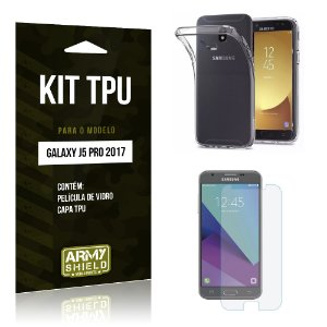 Kit TPU Samsung Galaxy J5 Pro (2017) Película de Vidro + TPU Transparente - Armyshield