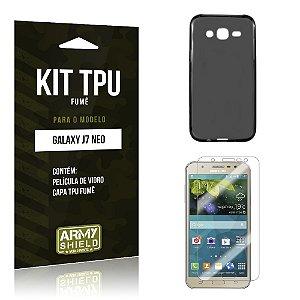 Kit TPU Fumê Samsung Galaxy J7 Neo Película de Vidro + TPU Fumê  - Armyshield
