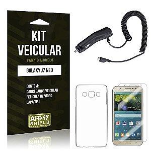 Kit Veicular Samsung Galaxy J7 Neo Película de Vidro + Carregador Veicular  - Armyshield