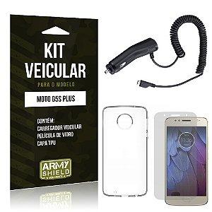Kit Veicular Motorola Moto G5S Plus Película de Vidro + Carregador Veicular - Armyshield