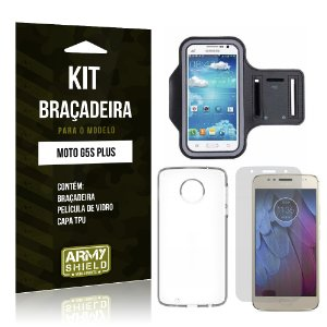 Kit Braçadeira Motorola Moto G5S Plus Película de Vidro + Braçadeira + TPU - Armyshield