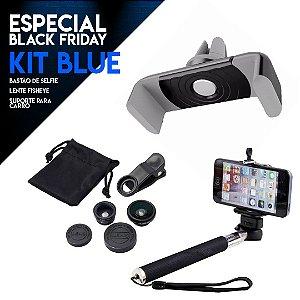 Kit BLUE com Lente Fisheye + Bastão de Selfie + Suporte Carro