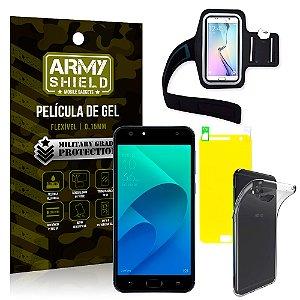 Kit Braçadeira Asus Zenfone 4 Selfie ZD553KL 5.5 Braçadeira + Película + Capa - Armyshield