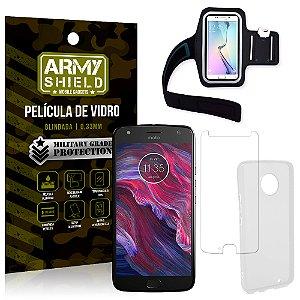 Kit Braçadeira Motorola Moto X4 XT1900 5.2 Braçadeira + Película + Capa - Armyshield