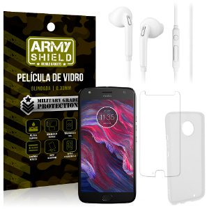 Kit Fone de Ouvido Motorola Moto X4 XT1900 5.2 Fone + Película + Capa - Armyshield