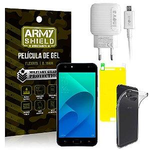 Kit Carregador Asus Zenfone 4 Selfie ZD553KL 5.5 Carregador + Película + Capa - Armyshield