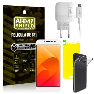Kit Carregador Asus Zenfone 4 Selfie Pro ZD552KL 5.5 Carregador + Película + Capa - Armyshield