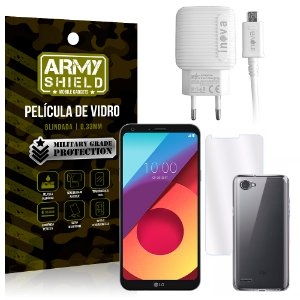 Kit Carregador LG Q6 / Q6 Plus M700TV 5.5 Carregador + Película + Capa - Armyshield