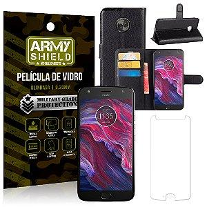 Kit Capa Carteira Motorola Moto X4 XT1900 5.2 Capa Carteira + Película - Armyshield