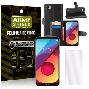 Kit Capa Carteira LG Q6 / Q6 Plus M700TV 5.5 Capa Carteira + Película - Armyshield