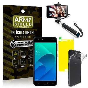 Kit Bastão Selfie Asus Zenfone 4 Selfie ZD553KL 5.5 Bastão + Película + Capa - Armyshield