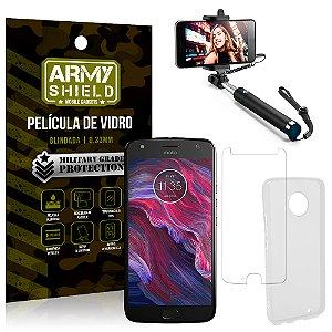 Kit Bastão Selfie Motorola Moto X4 XT1900 5.2 Bastão + Película + Capa - Armyshield