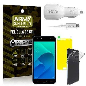 Kit Carregador Veicular Asus Zenfone 4 Selfie ZD553KL 5.5 Carregador + Película + Capa - Armyshield