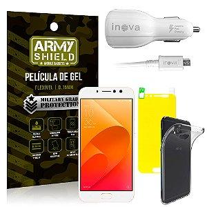 Kit Carregador Veicular Asus Zenfone 4 Selfie Pro ZD552KL Carregador + Película + Capa - Armyshield