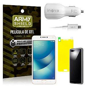 Kit Carregador Veicular Asus Zenfone 4 Max ZC554KL 5.5 Carregador + Película + Capa - Armyshield