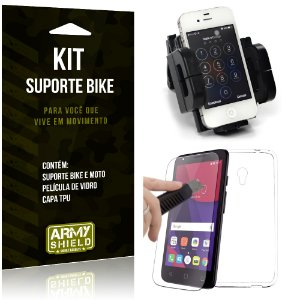 Kit Suporte Moto Bike Alcatel Pixi 4 - 5.0' Suporte + Película + Capa - Armyshield