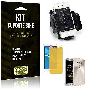 Kit Suporte Moto Bike Asus Zenfone 3 - 5.5' ZE552KL Suporte + Película + Capa - Armyshield