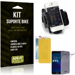 Kit Suporte Moto Bike Asus Zenfone 3 Max - 5.2' ZC520TL Suporte + Película + Capa - Armyshield
