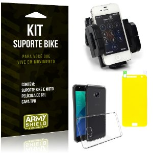 Kit Suporte Moto Bike Asus Zenfone 4 Selfie - 5.5' ZD553KL Suporte + Película + Capa - Armyshield