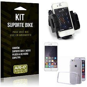 Kit Suporte Moto Bike Apple iPhone 6 - 6S Suporte + Película + Capa - Armyshield